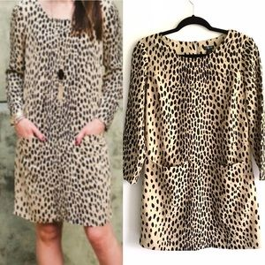 J. CREW Leopard Shift Mini Dress Long Sleeve 2